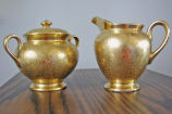 Wheeling Decorating Company, gold creamer and sugar bowl