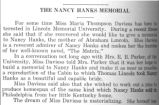 The Nancy Hanks memorial / [unknown].  In Mountain herald / Lincoln Memorial University.