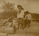 "[Three girls on a picnic at ""Camp Laugh-a-lot"" / [unknown]."