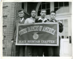 "Students and Teacher Holding  ""Future Farmers of America, Black Mountain Chapter"" Banner"