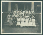 Young ladies on steps of Mee Hall at Milligan College