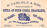 H. Carlisle & Son Shell and Horn Jewelry Advertising Card