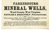 Parkersburg Mineral Wells Advertising Card