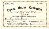 Opera House Orchestra and Band Certificate of Passive Membership 1901