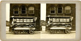 Stereoview card of Reymann Brewing Company Truck decorated for a parade, Wheeling, West Virginia.