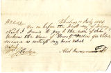 IOU from Abel Barnes to John Goshorn, July 10, 1844