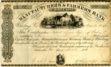 Manufacturers and Farmers Bank of Wheeling Stock Certificate