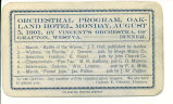 Orchestral program, Oakland Hotel, Monday, August 5, 1901.